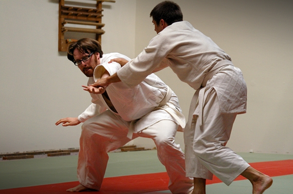 Adam and Eric in aikido class at AKI Santa Barbara.